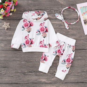 Floral newborn baby girl clothes tracksuit