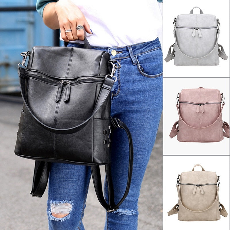 Fashion Leather Backpack Women Waterproof PU Leather
