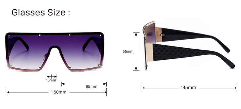Square Sunglasses Women Fashion Oversized Metal Frame