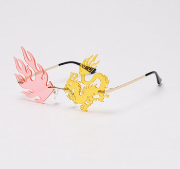 Fashion Rimless Dragon Phoenix Sunglasses
