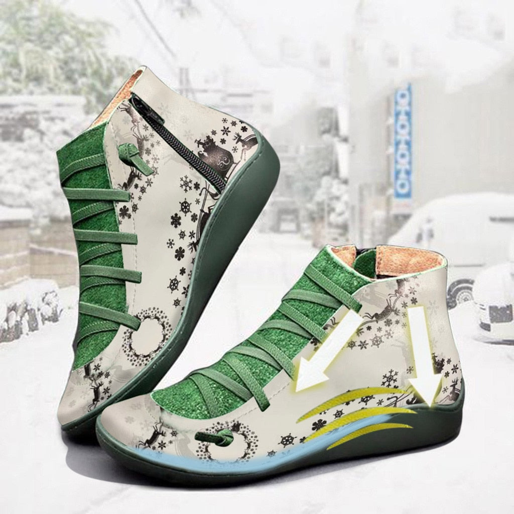 Snow boots warm Women Casual Flat Leather Retro Lace-up Boots