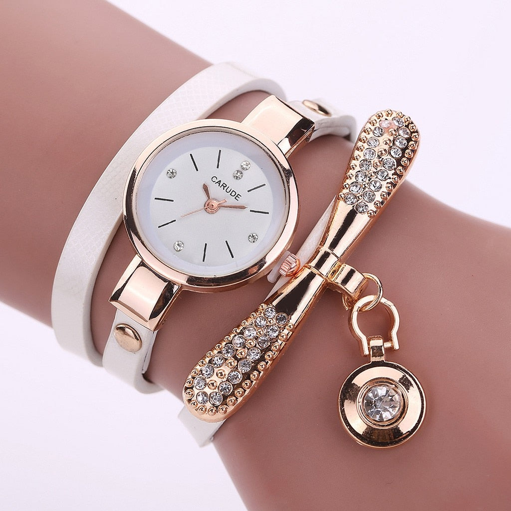 Retro Women Watch Leather Water Drop Pendant Bracelet
