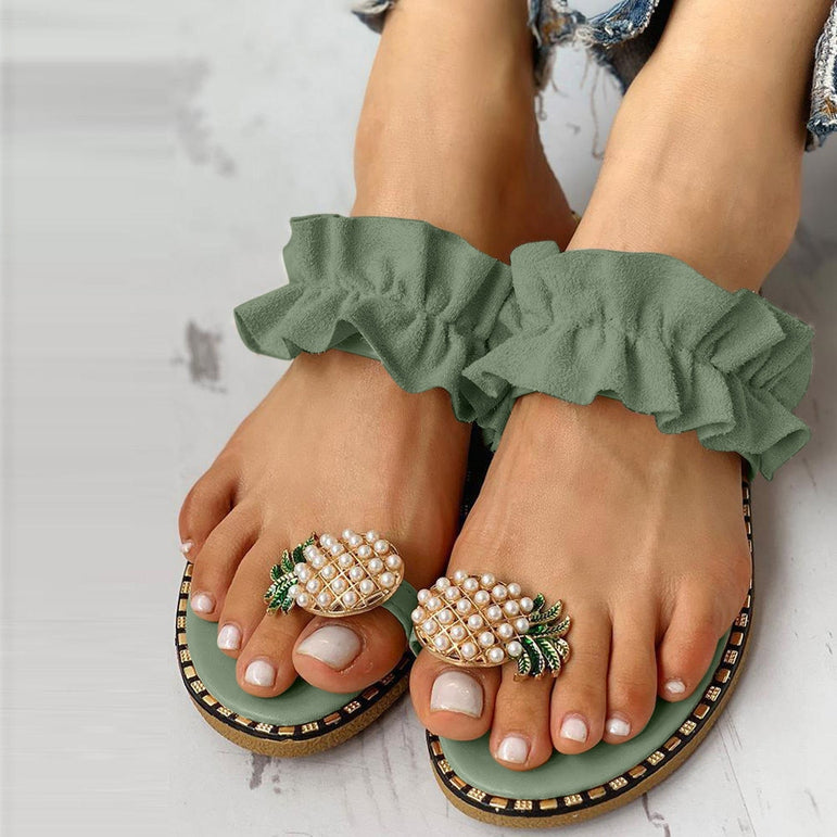 Slipper Pineapple Pearl Flat Toe Bohemian
