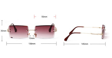 Rectangle Rimless Sunglasses Women Men Metal Frame