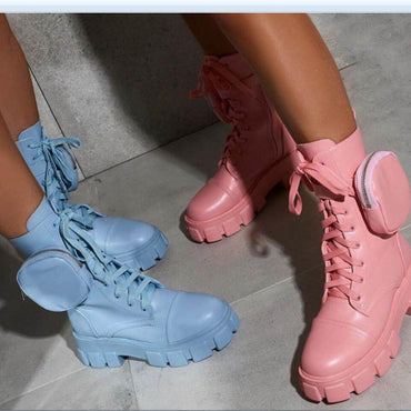 New Chunky Boots Fashion Pocket Platform Boots