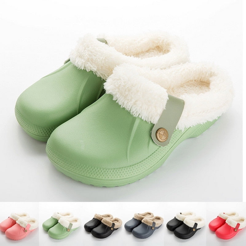 Women's Home Winter Clogs Indoor Fur Warm Slippers