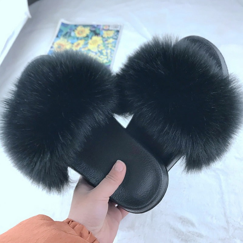 Fluffy Fur Slippers Shoes Women Real Flip Flop