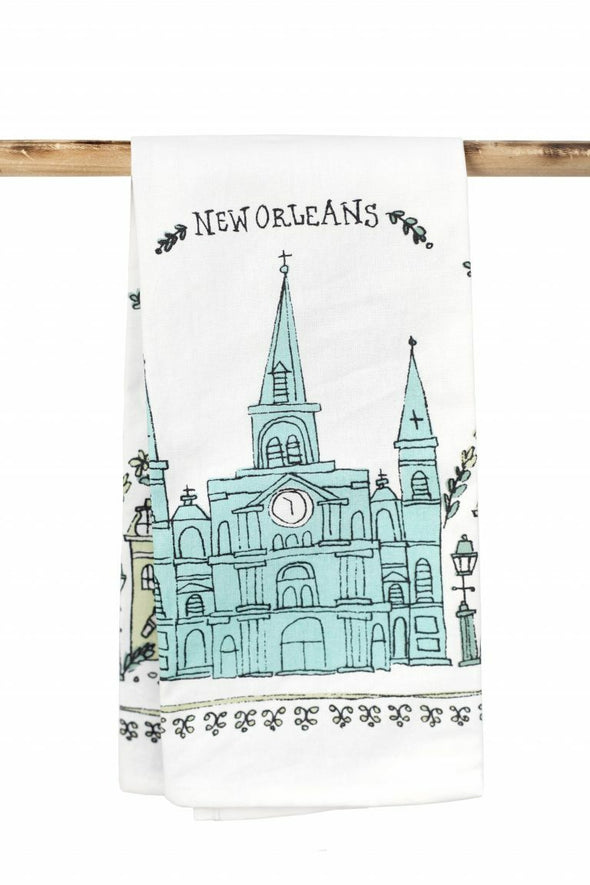 Sketchy New Orleans Cathedral Kitchen Towel