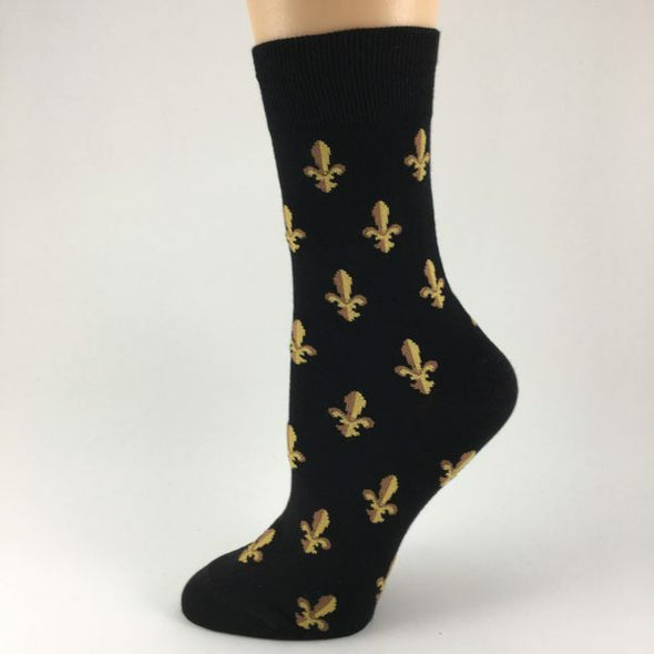 Fleur de Lis Black and Gold Socks