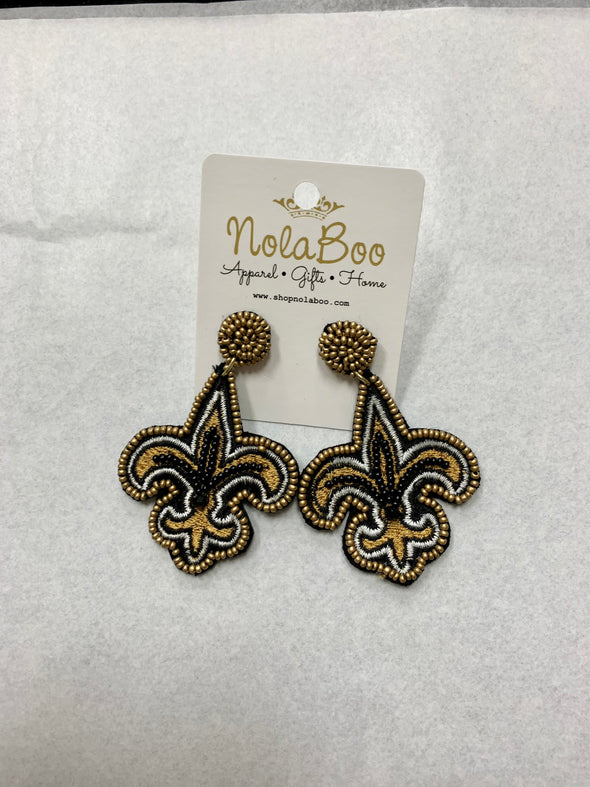 Beaded Fleur De Lis Black & Gold Earrings
