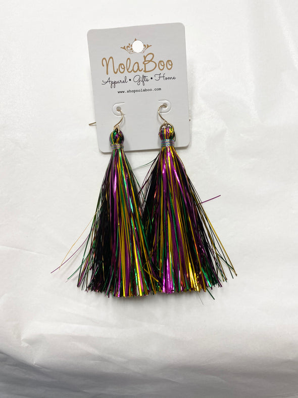Mardi Gras Tinsel Tassel Earrings