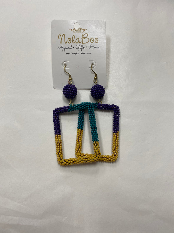 Mardi Gras Rectangle Beaded earrings