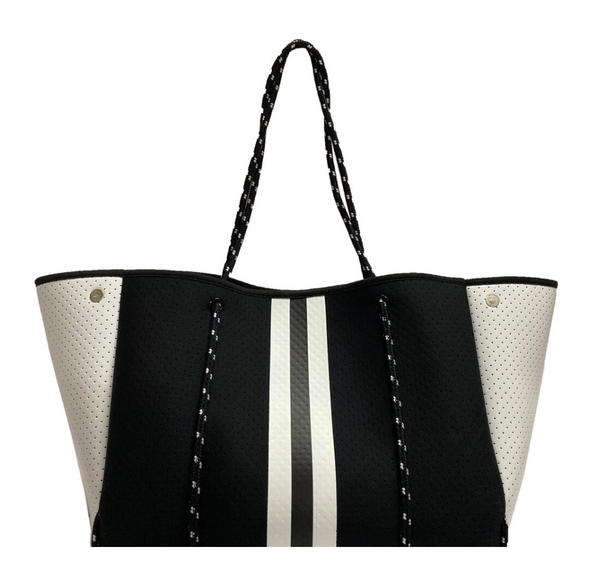 Black & White Stripe Neoprene Tote