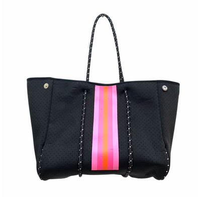 Black & Pink Stripe Neoprene Tote