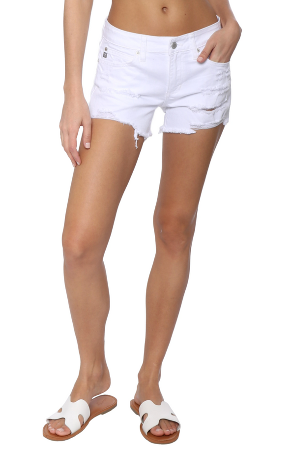 Mid Rise Super Destroyed White Denim Shorts