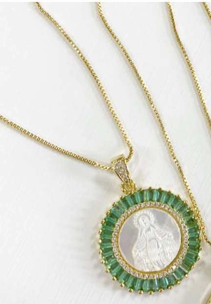 Aqua Mother Mary Necklace