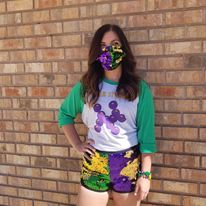 Flip Sequin Mardi Gras Shorts Purple Green and Gold