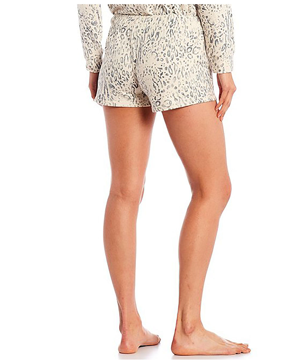 P.J. Salvage Women Oatmeal Leopard Shorts