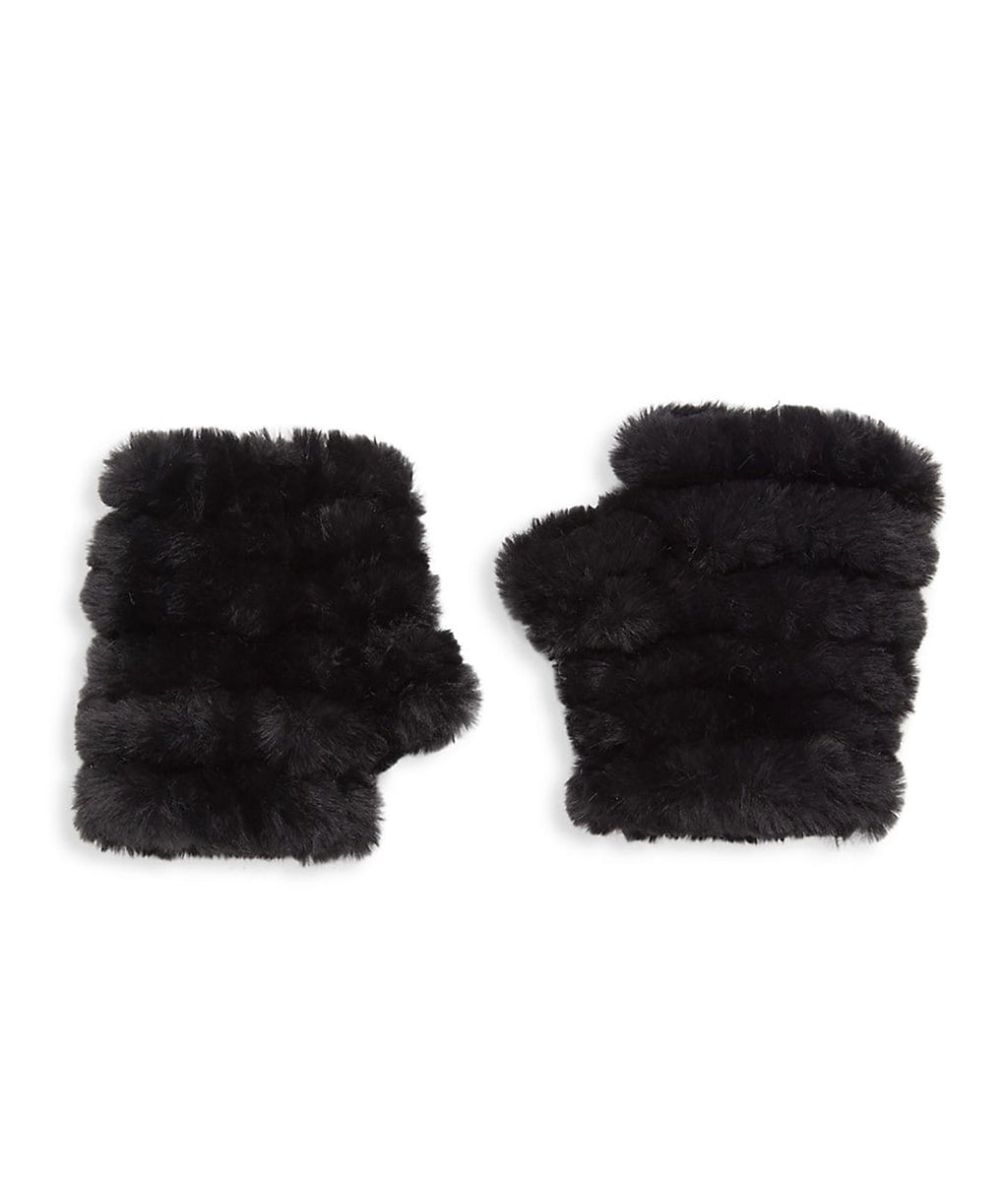 Jocelyn Kids Black Faux Fur Knitted Mittens