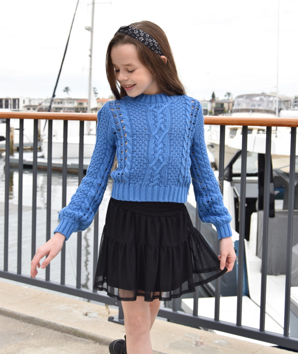Katie J NYC Girls Mae Cable Knit Sweater Periwinkle