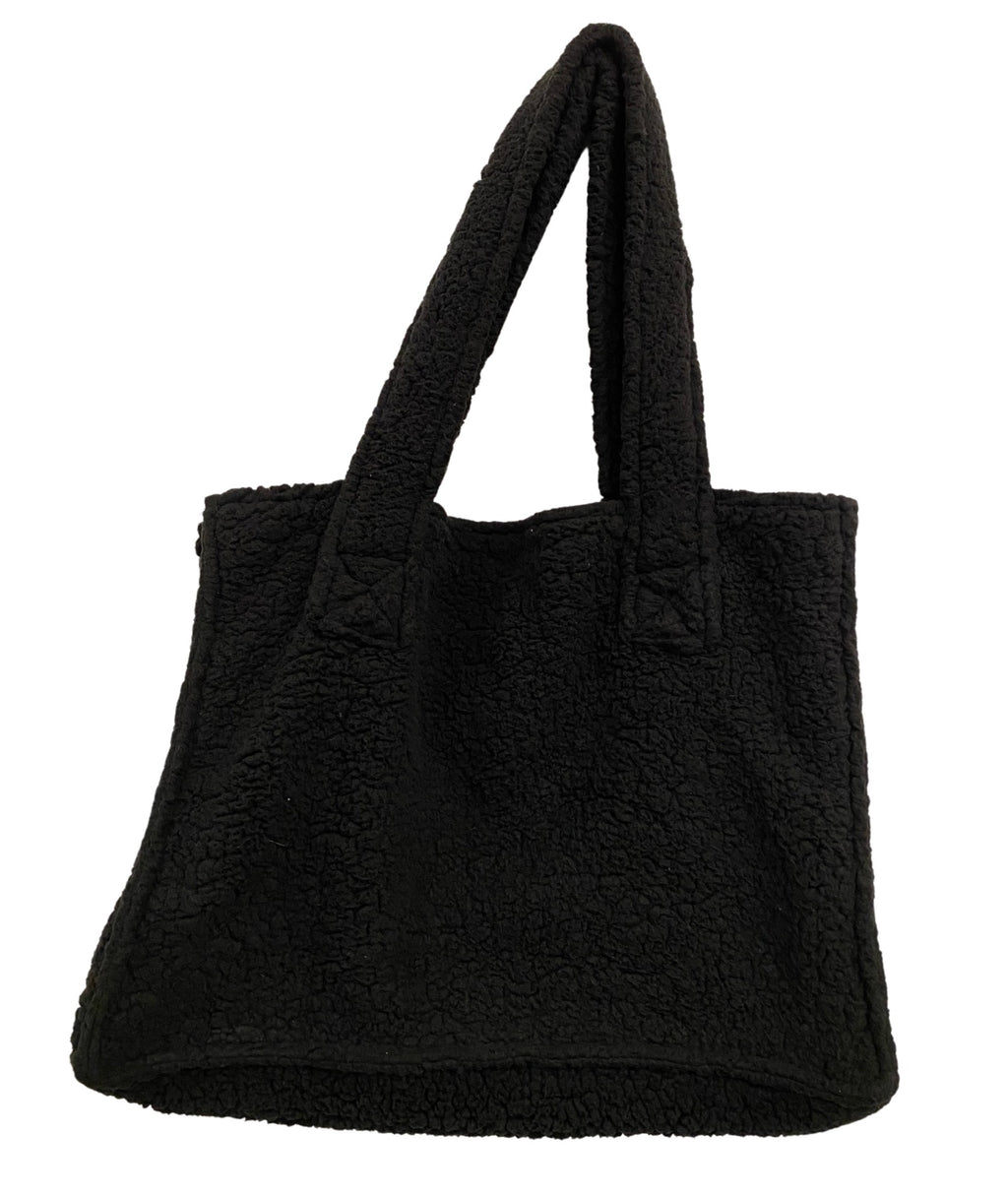 mac&vic Black Sherpa Faux Fur Tote Deconstructed