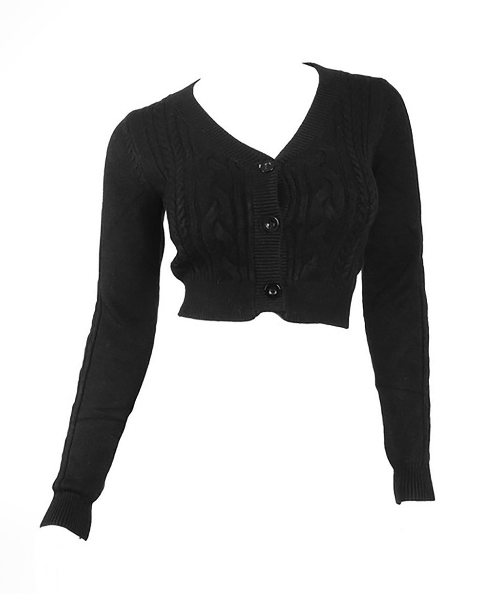 Freda Black Cable Crop Cardigan Women