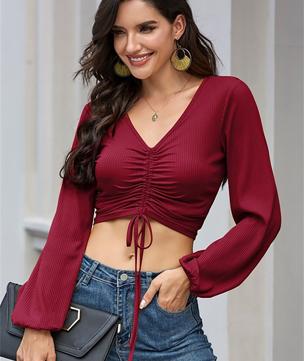 Kennedy Burgundy Shirred Long Sleeve Top Women