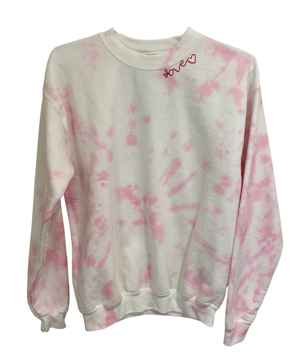Clothes 4 a Cause Girls Pink and White Love Tie Dye Embroidered Sweatshirt