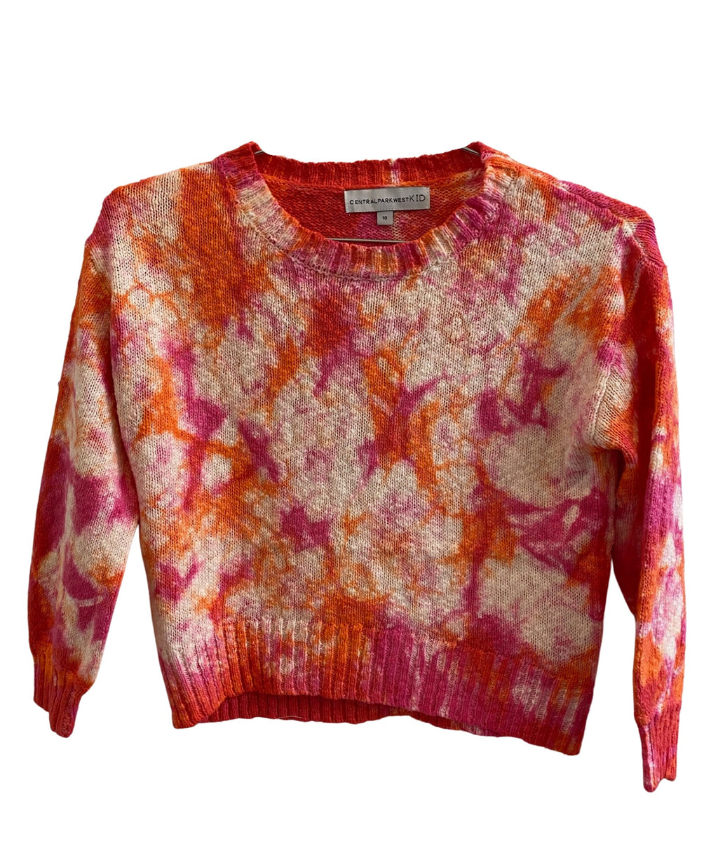 Central Park West Girls Pink Tie-Dye Sweater