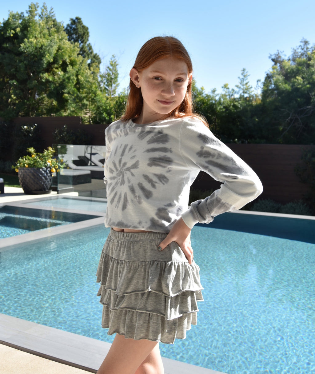 Me.n.u Girls Heather Grey Tiered Skirt