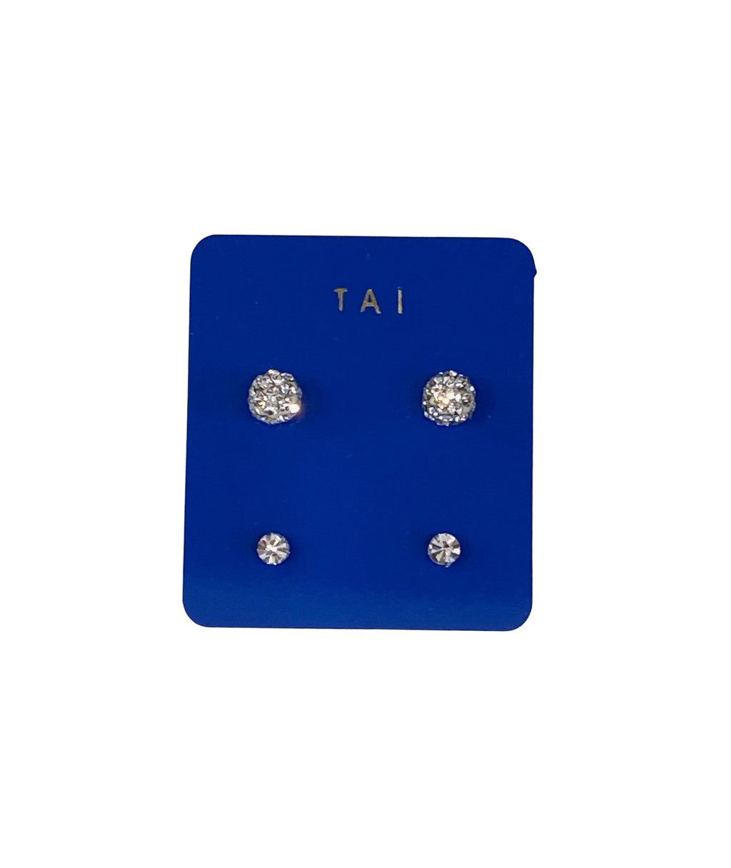 Tai Set of 2 Silver & Clear Ball Studs