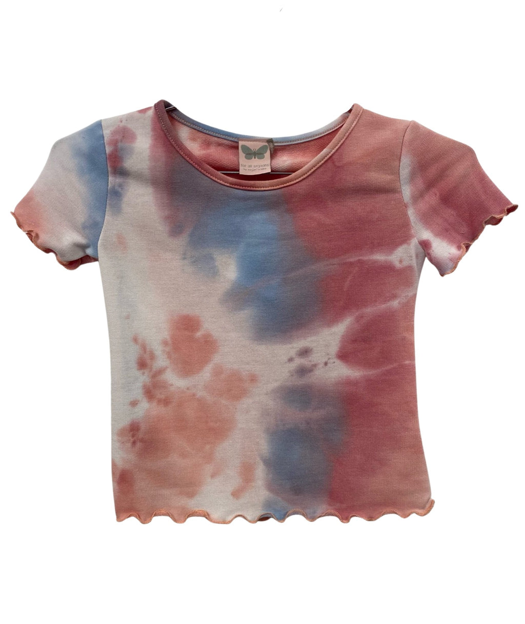For All Seasons Girls Pink Tie Dye French Terry Tee