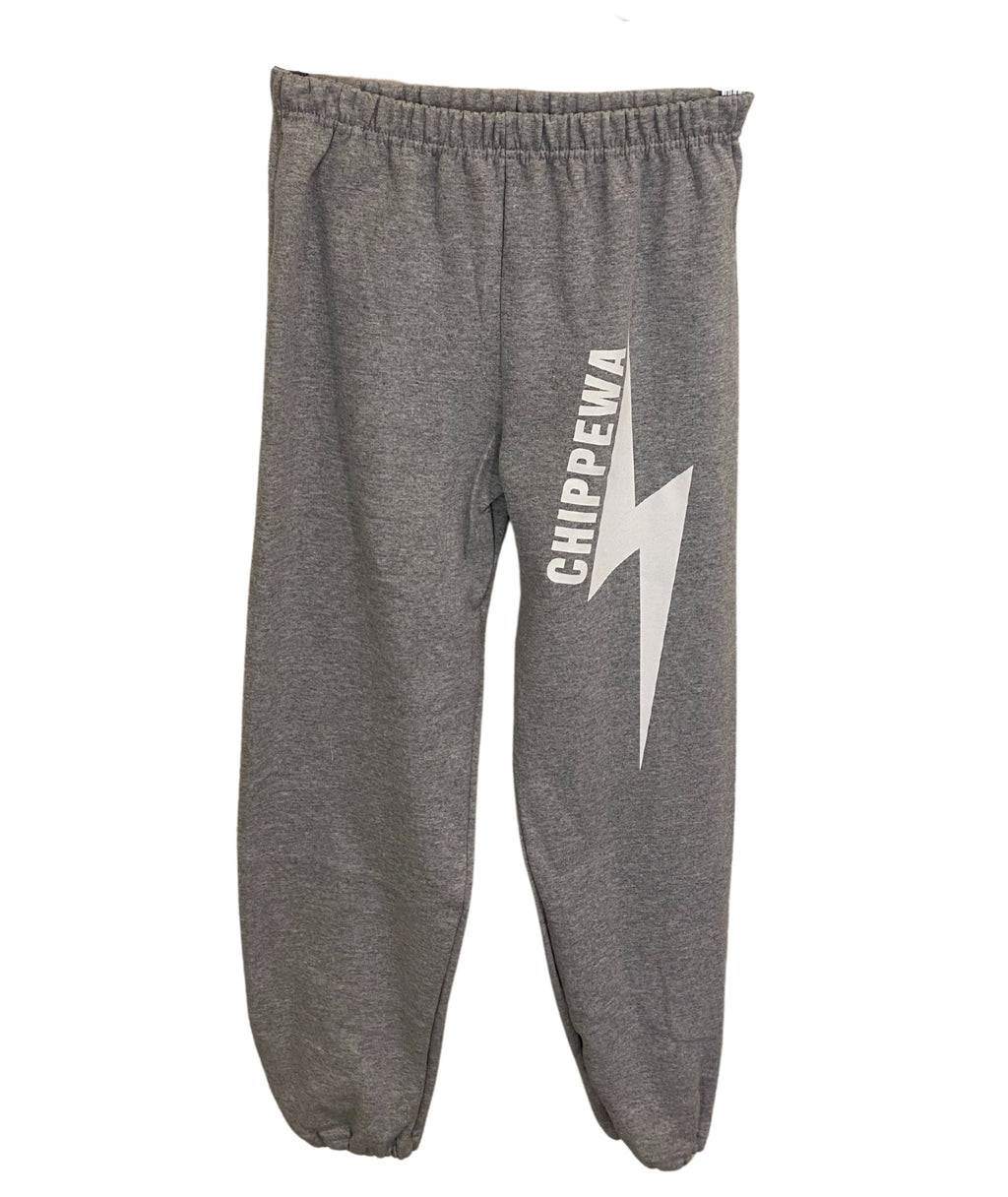 Gildan White Lightning Bolt Sweatpants Dark Grey