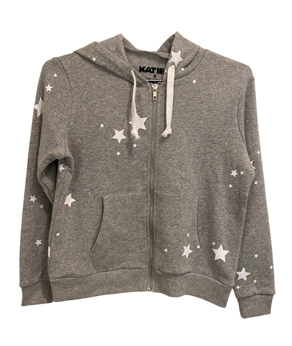Katie J NYC Girls Faith Grey Star Zip Hoodie