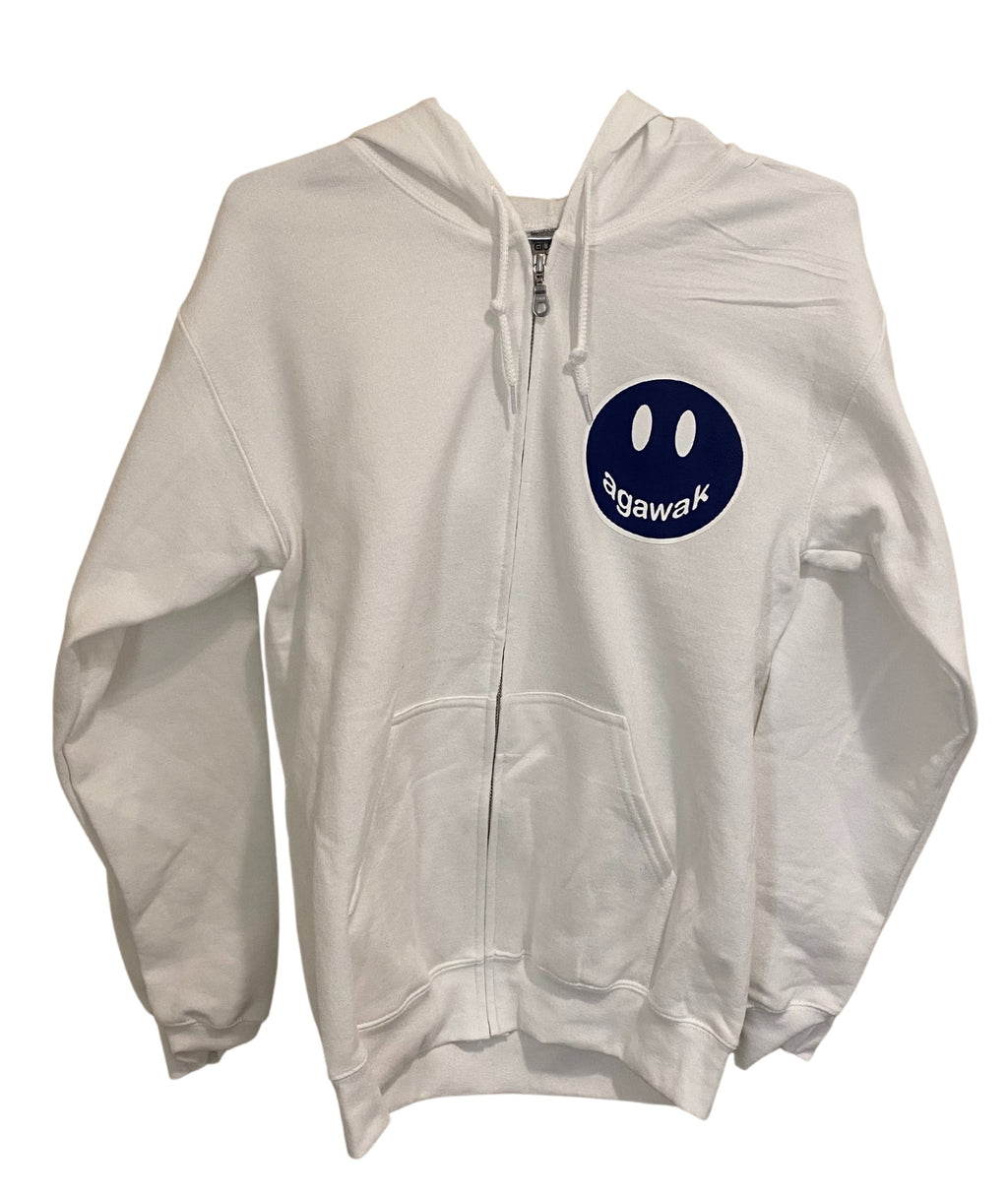 Gildan White Zip Hoodie With Small Camp Color Smiley
