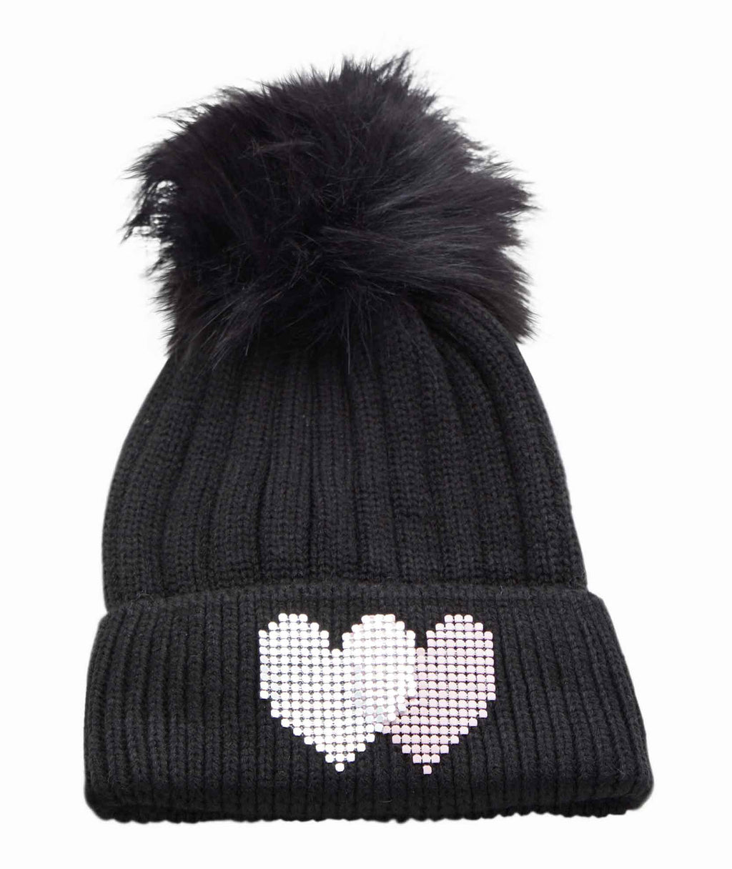 Jocelyn Kids Knit Hat With Hearts and Faux Fur Pom