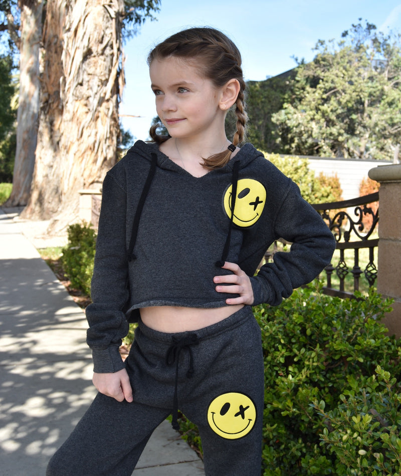 Love Junkie Girls Supersoft Crop Puff Smile Hoodie Charcoal
