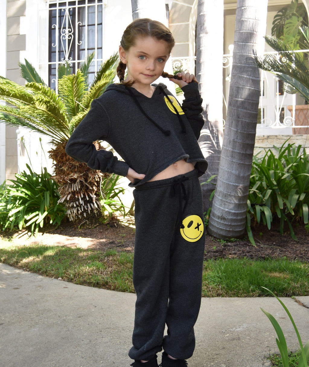 Love Junkie Girls Supersoft Puff Smile Sweatpants Charcoal