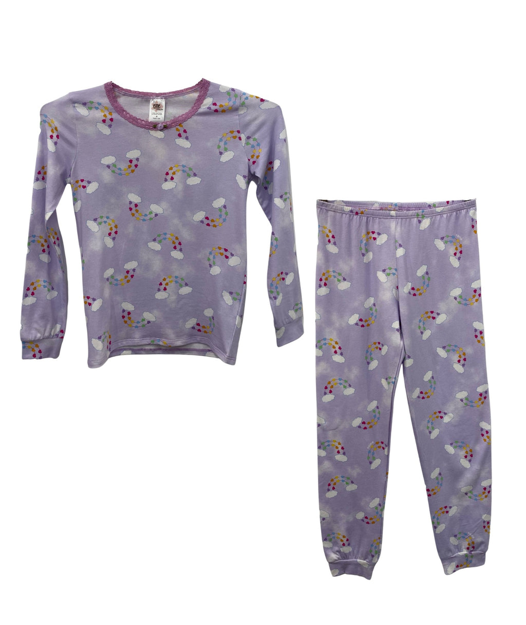 Esme Girls Rainbow Hearts Long Sleeve Top/Leggings