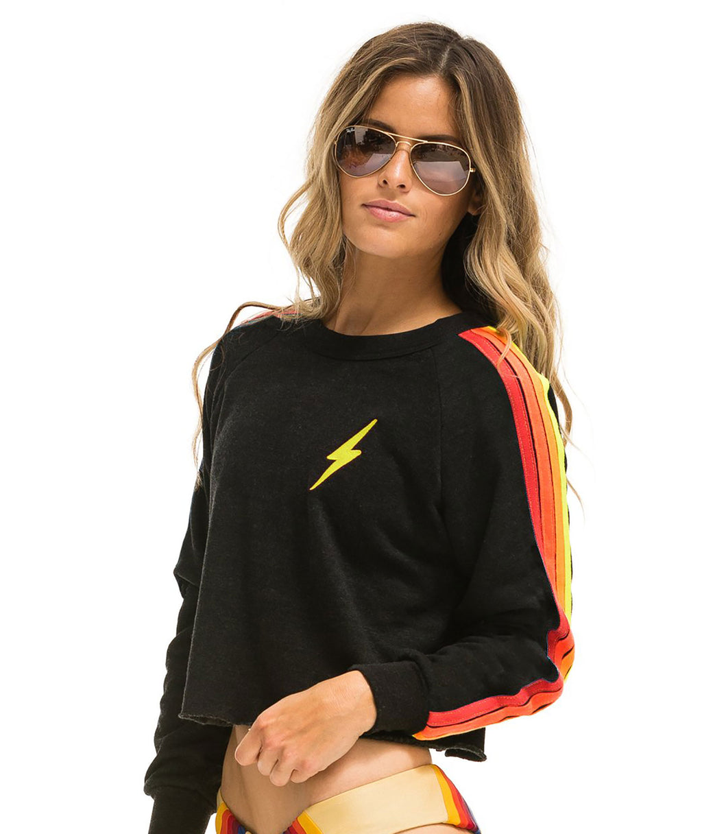 Aviator Nation Women Black Neon Crop Crew Sweatshirt