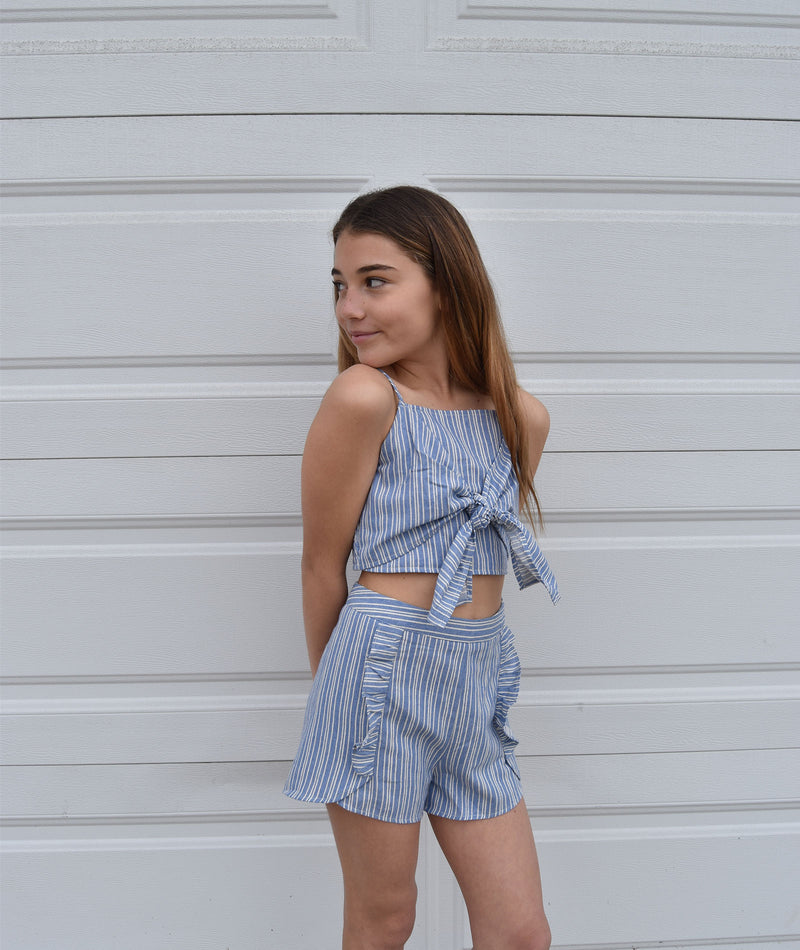 For All Seasons Girls Stripe Blue Top