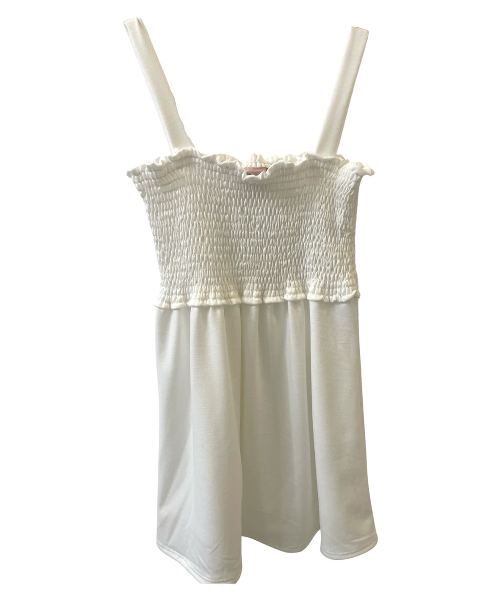 For All Seasons Girls Ivory French Terry Shirred Tank Dress