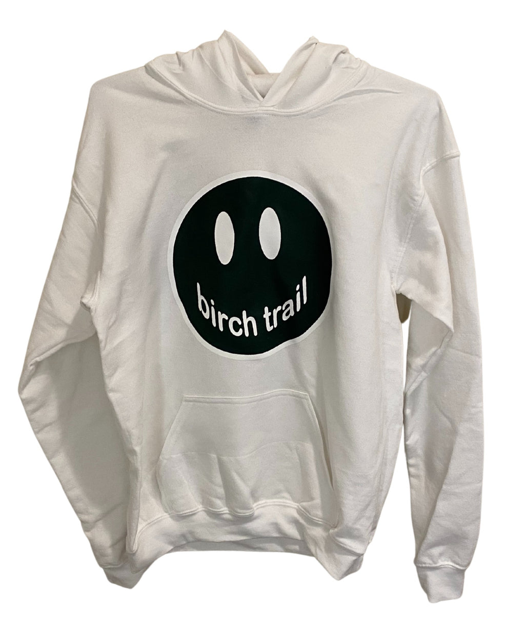 Gildan White Pullover Hoodie With Large Camp Color Smiley
