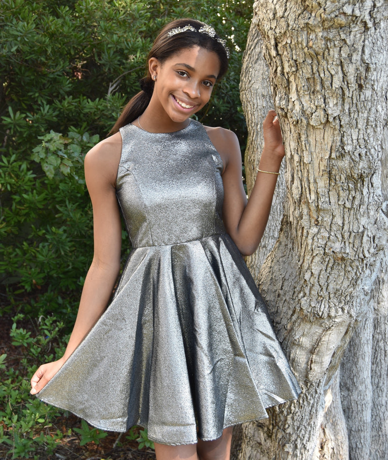 Un Deux Trois Girls Dark Silver Party Dress