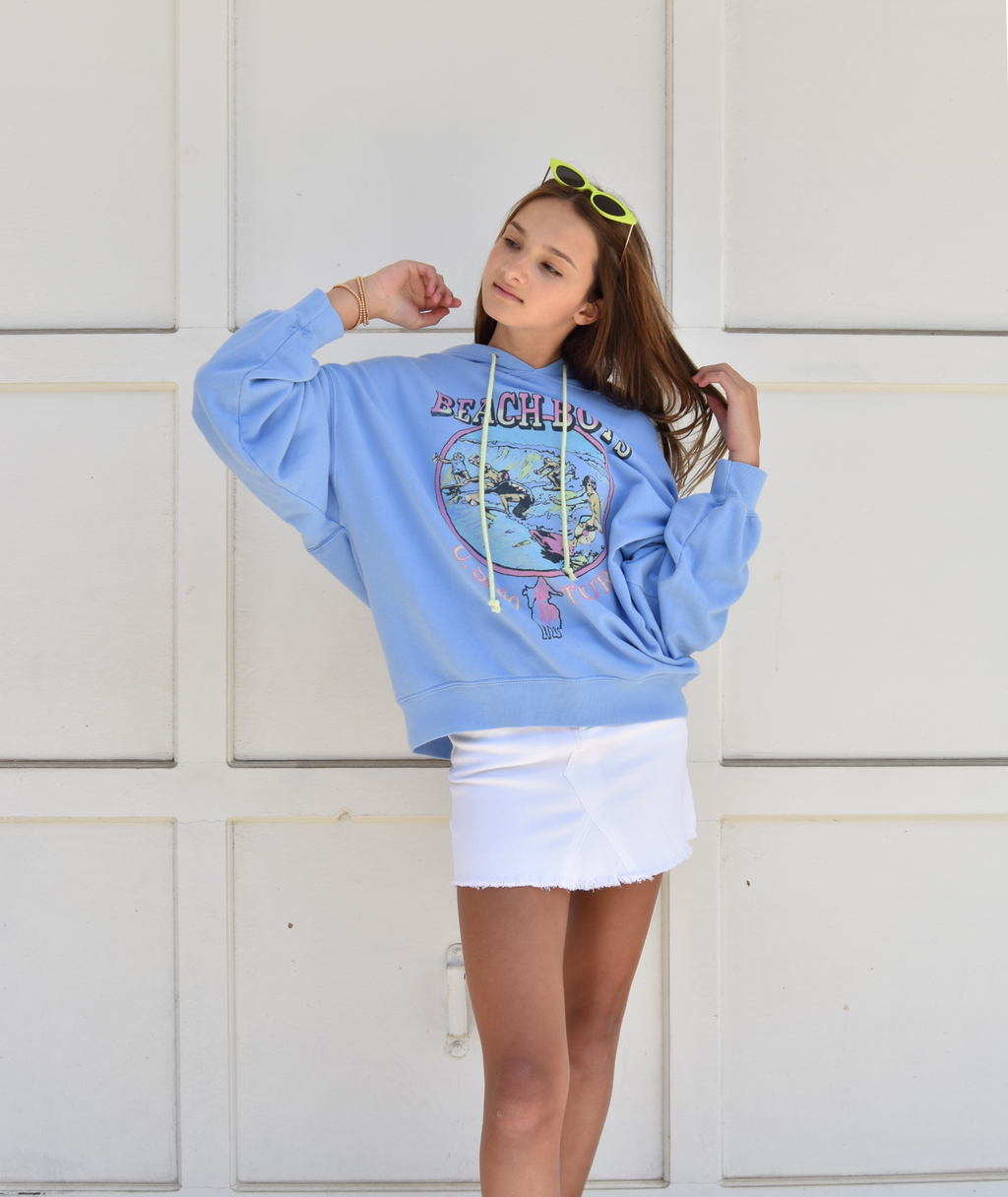 Daydreamer Women Beach Boys US '80 Tour Periwinkle Oversized Hoodie