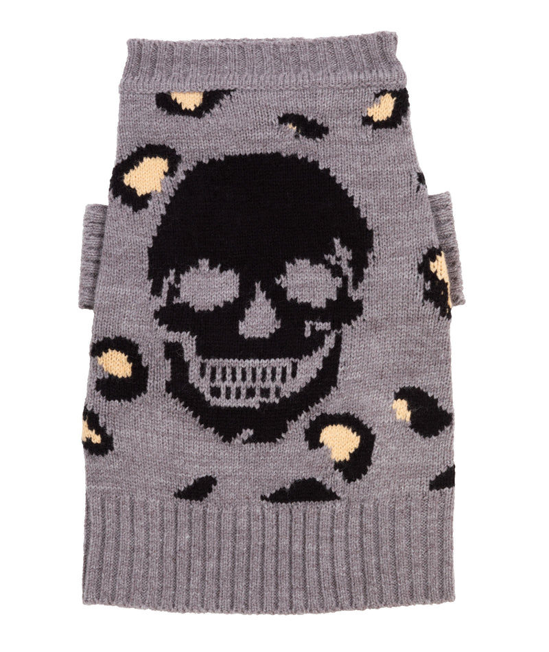 360 Cashmere Dog Sweater Leopard Skull Grey