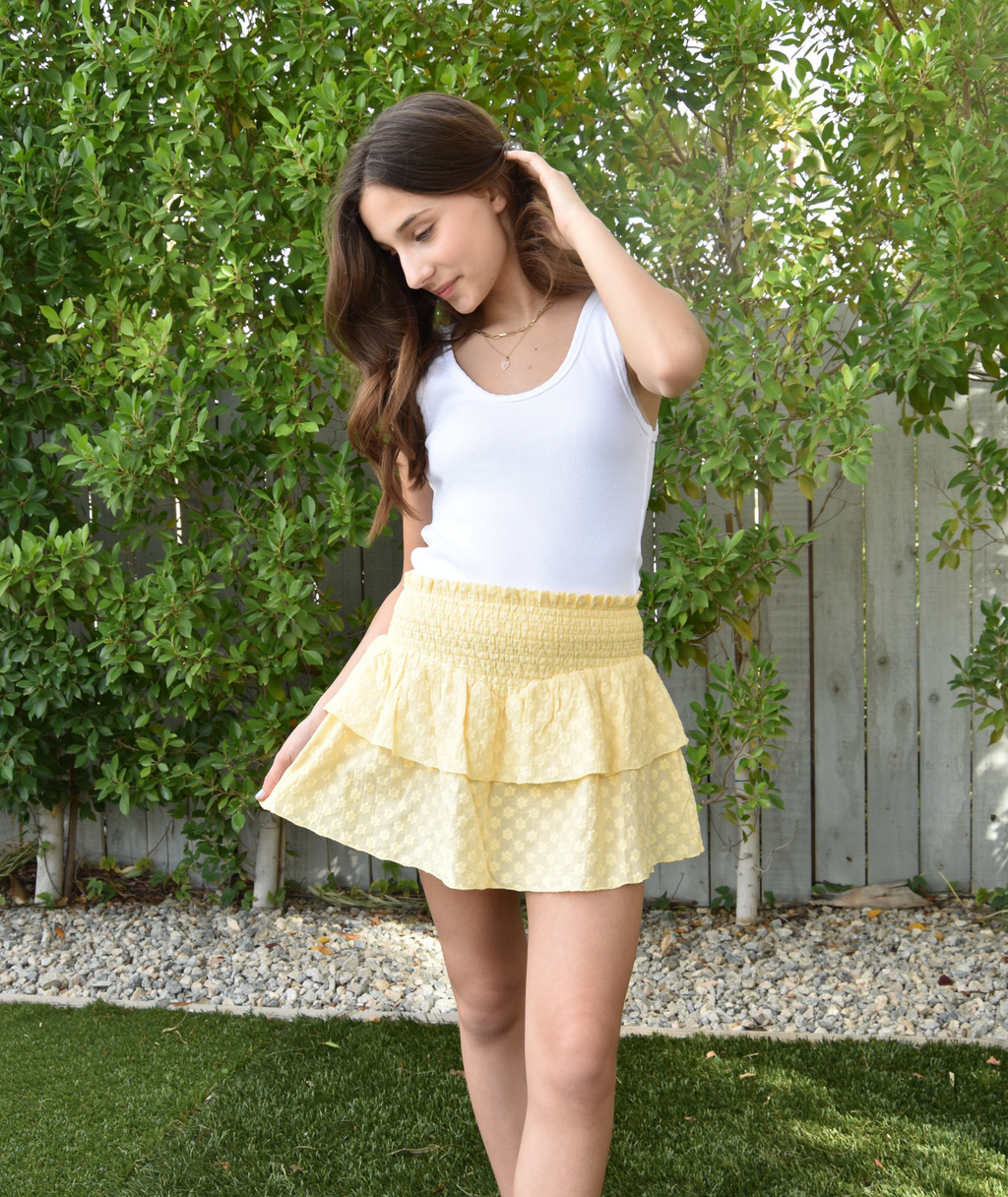 Katie J Girls Faye Yellow Embroidered Floral Smock Skirt