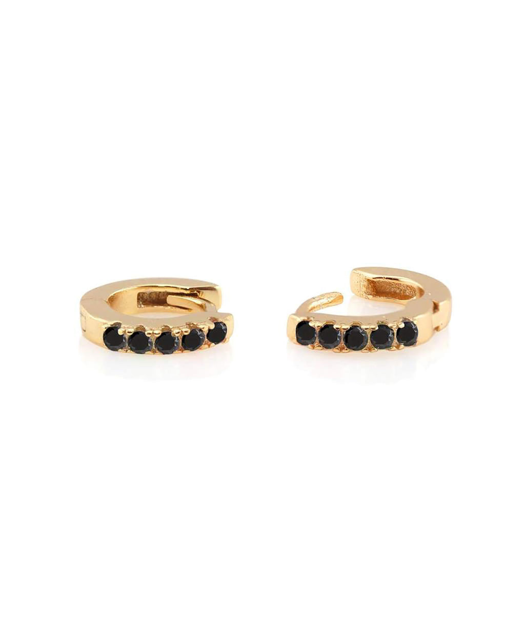 Kris Nations Gold Pave Black Huggie Earrings
