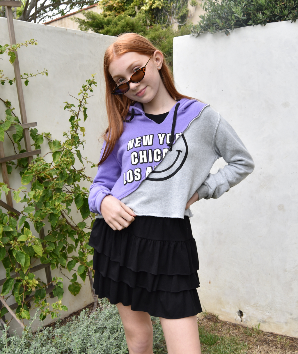 Love Junkie Girls Mixed Crop Hoodie Violet