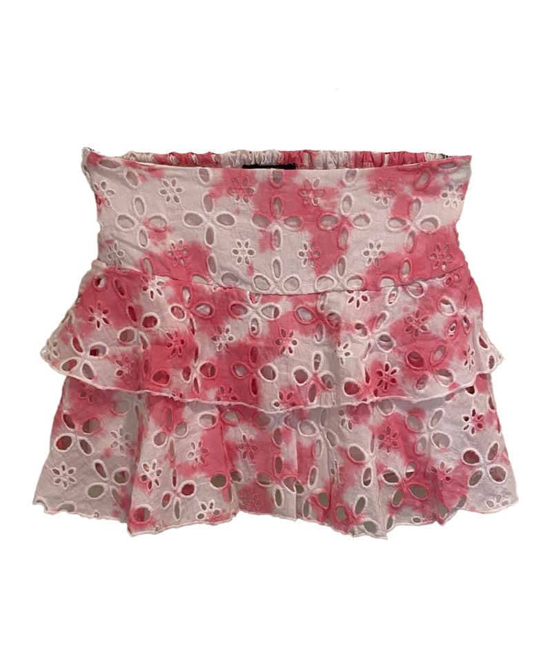Flowers By Zoe Girls Tie Dye Tiered Skirt Pink/White